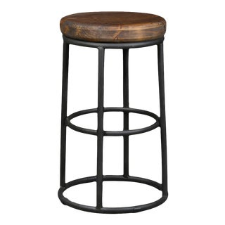 Reclaimed Wood and Iron Counter Stool For Sale