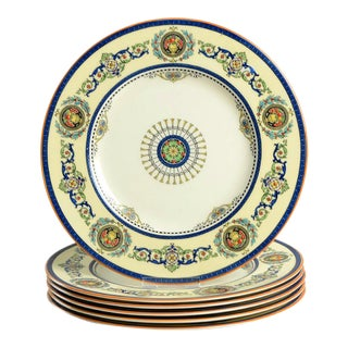 Royal Worcester Empire Blue Dinner Plate Set/6 For Sale