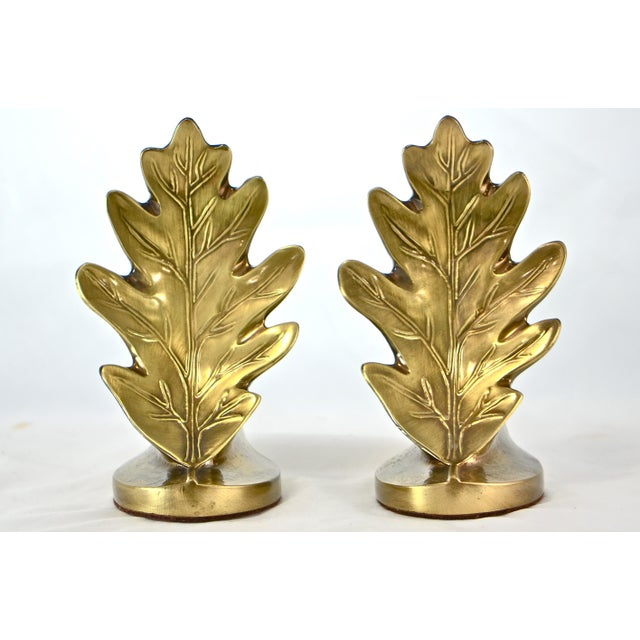 Brass Oak Leaf Bookends - A Pair - Image 8 of 8