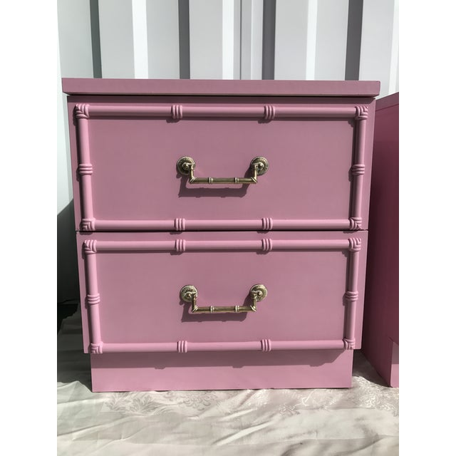 Pink Lacquered Faux-Bamboo Nightstands - A Pair - Image 4 of 8