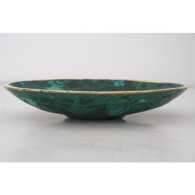 Contemporary Vintage Oval Malachite Dish With Scalloped Brass Rim For Sale - Image 3 of 10