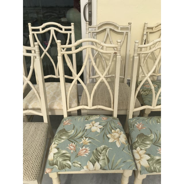 Mid 20th Century Vintage Thomasville Faux Bamboo Chinoiserie Hollywood Regency Chairs - Set of 10 For Sale - Image 5 of 11