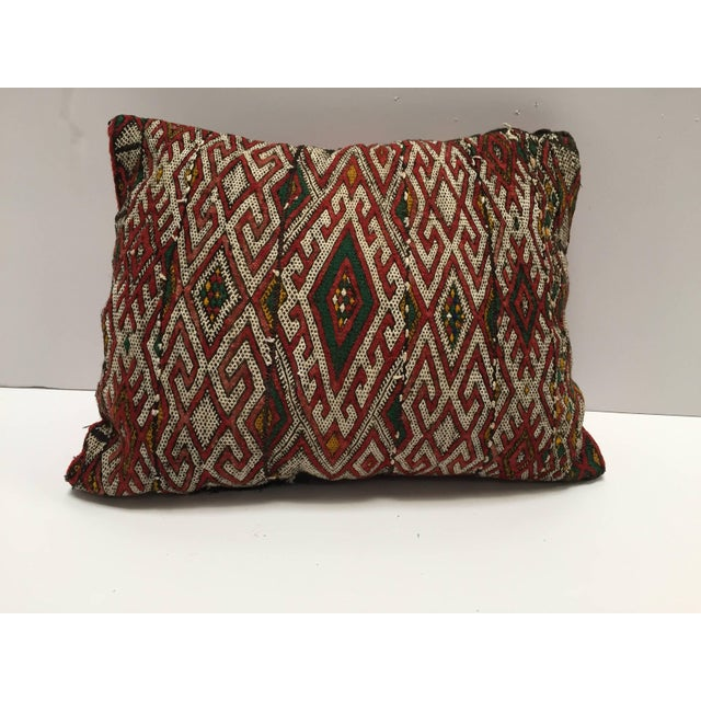 Mid 20th Century Moroccan Berber Handwoven Tribal Throw Pillow Made From a Vintage Rug For Sale - Image 5 of 6