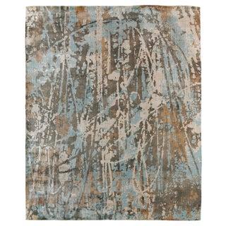Bridgewater Handloom Bamboo Silk Blue/Brown Multi Rug - 10'x14' For Sale