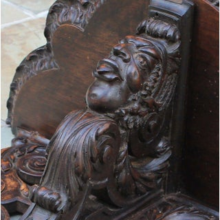 Antique French Oak 19th Century Large Gothic Figural Hand Carved Wall Shelf Corbel Bracket Preview