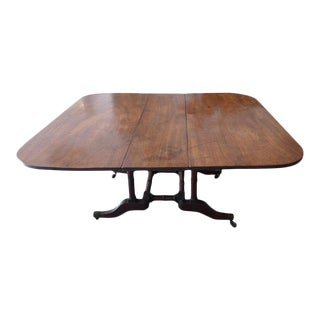 19th Century English Stained Elm and Mahogany Drop-Leaf Table For Sale