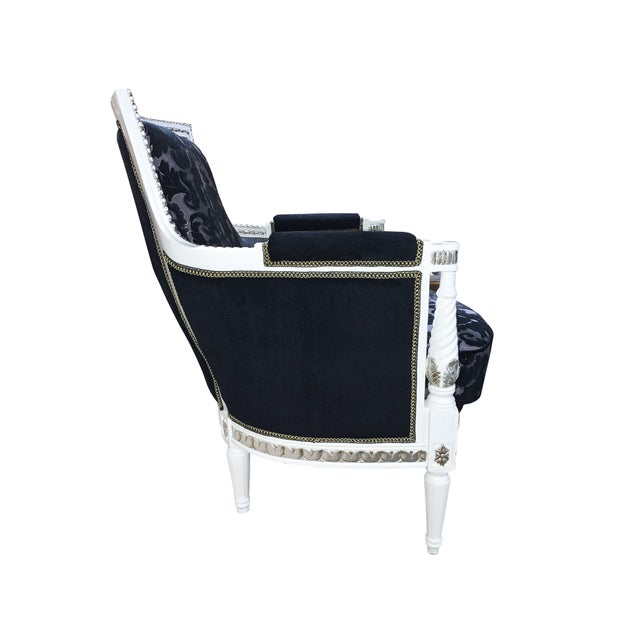 Fine French Provincial Black White Silver Accent Chair Ibusinesslaw Wood Chair Design Ideas Ibusinesslaworg