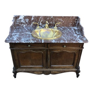 Sherle Wagner Sink Vanity With Rouge Marble Top For Sale