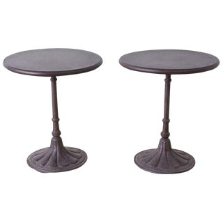 Pair of Parisian Style Iron Bistro Cafe Tables For Sale