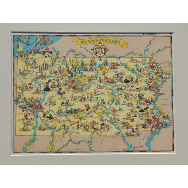 Vintage Map of Pennsylvania, 1935 For Sale - Image 4 of 5