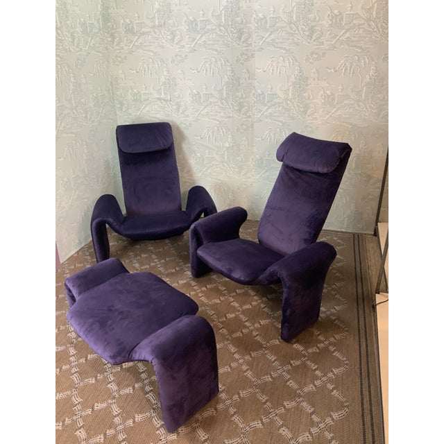 Amethyst Vintage Olivier Mourgue Orignial Djinn Chairs- Set of 3 For Sale - Image 8 of 9