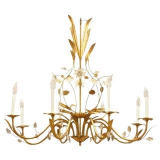 French 1940s Gilt Metal Chandelier Attrib. To Baguès For Sale
