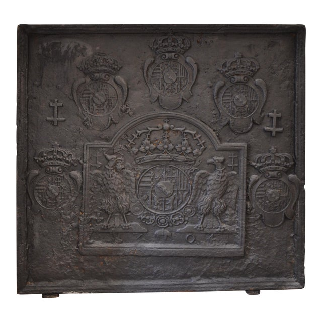 18th C. Large Fireback - Coat of Arms Lorraine from 1704 For Sale