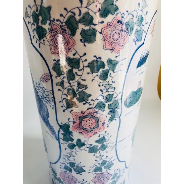 1970s Vintage Chinoiserie Pink, Blue, Lavender & Green Chinese Porcelain Umbrella Holder For Sale - Image 5 of 8