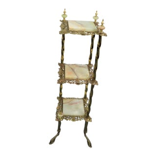 Victorian Brass & Onyx Three-Tier Stand For Sale