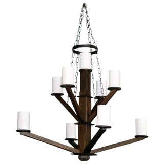 Large Wood Chandelier Milk Glass Shades For Sale