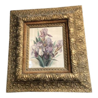 1880 Antique Victorian Wood and Gesso Frame With Flower Print For Sale