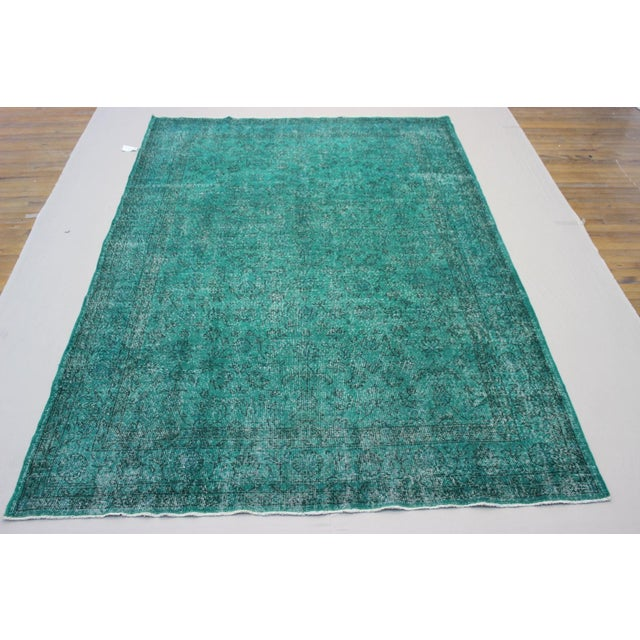 "Vintage Over-Dyed Teal Rug - 7'6"" x 10'9"" - Image 2 of 9"
