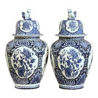 Pair of Large Mid-20th Century Dutch Blue and White Maastricht Delft Ginger Jars For Sale