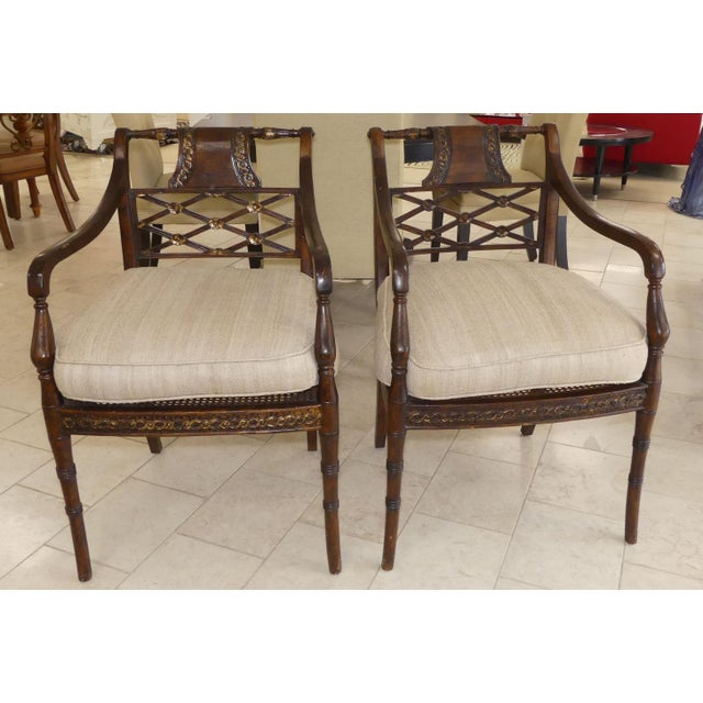 Hollywood Regency John Richard Traditional Cane Seat Regency Armchairs- a Pair For Sale - Image 3 of 13