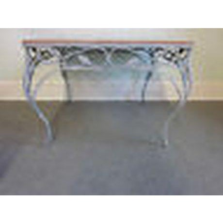 Rococo Salterini Square Ornate Iron Marble Top Patio Outdoor Dining Table For Sale - Image 3 of 12