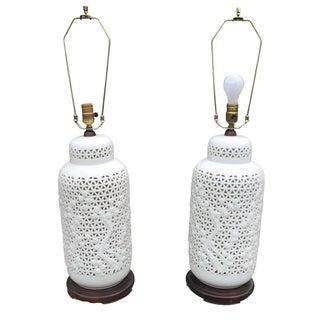 Large Pierced Blanc De Chine Lamps - A Pair