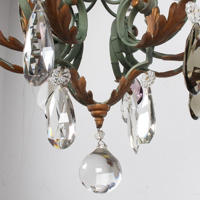 Vintage French 8-Light Painted Iron and Crystal Chandelier For Sale In San Francisco - Image 6 of 12