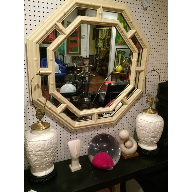 Faux Bamboo Hollywood Regency Octagonal Mirror For Sale - Image 9 of 11