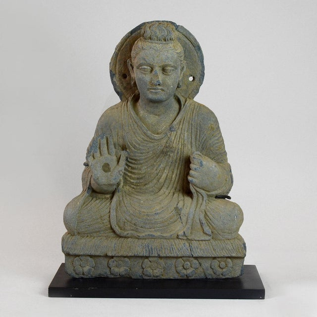 Gandhara Schist Sculpture of the Seated Buddha For Sale - Image 4 of 4