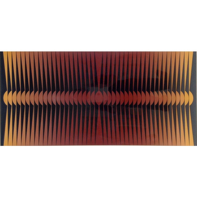 Op-Art painting by famous Yugoslavian pop and optical artist Dordevic Miodrag (b. 1936). Signed on bottom right and on...