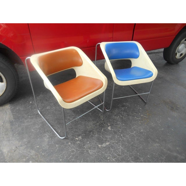 """Rare Pair of Vintage Mid-Century Modern Artoplex """" LOTUS """" Stacking Chairs by Paul Boulva. He designed these chairs for..."""