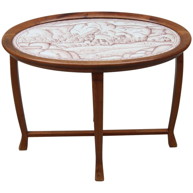 Salon Table With Stoneware Top by Helge Johansson, 1918 For Sale