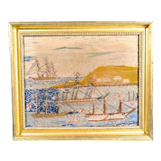 English Sailor's Woolwork With Muliple Ships in a Bay For Sale