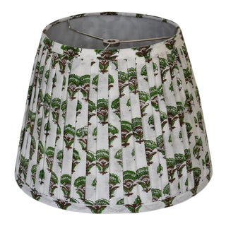Pleated Green Brown Floral Lamp Shade For Sale