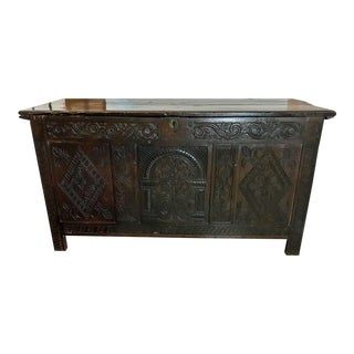 17th Century Charles II Oak Coffer or Chest For Sale