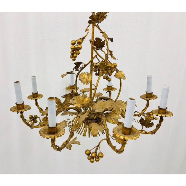 Antique French Gilded Ivy Chandelier For Sale - Image 9 of 13