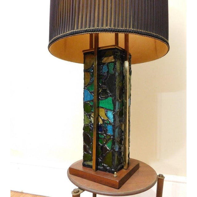 Brutalist Mid-Century Brutalist Stained Glass & Brass Lamp For Sale - Image 3 of 5
