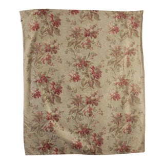 Antique 1890s French Aged Floral Cotton Large Scale Fabric - 1 Yard For Sale