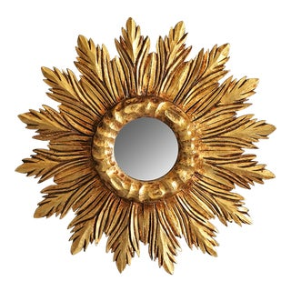 French Carved Gilt Wood Sunburst Mirror For Sale