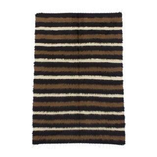 1960s Vintage Turkish Striped Blanket Kilim Rug - 4′2″ × 6′3″ For Sale