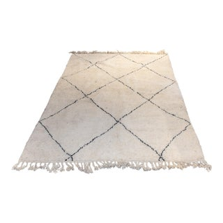 Vintage Moroccan Beni Ourain Double-Sided Berber Rug in Ivory and Black - 6′8″ × 9′11″ For Sale