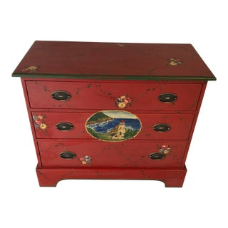 Coastal Lighthouse Folk Hand-Painted Country Chest For Sale