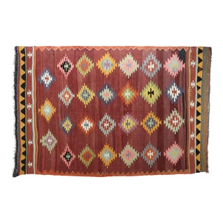 "Vintage Turkish Diamond Kilim Rug-6'6'x9'11"" For Sale"
