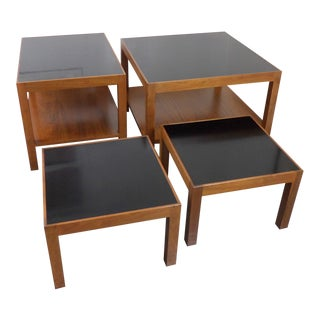Charles Pechanec Black Formica & Walnut Mid Century Modern Tables - Set of 4