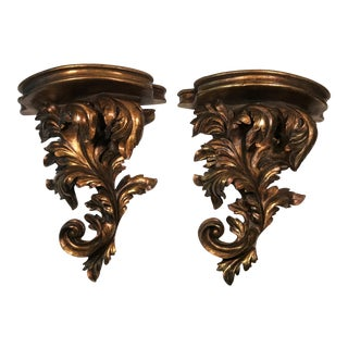Hollywood Regency Gold Acanthus Wall Brackets / Sconces - a Pair For Sale