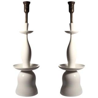 Vintage Gerald Thurston Porcelain Table Lamps for Lightolier For Sale