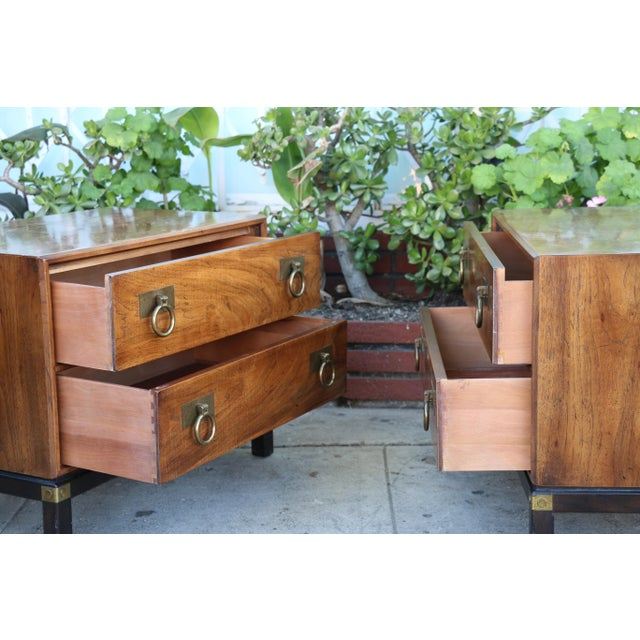 1970s Mid-Century Modern Henredon Nightstands with Brass Accent - a Pair For Sale - Image 10 of 12