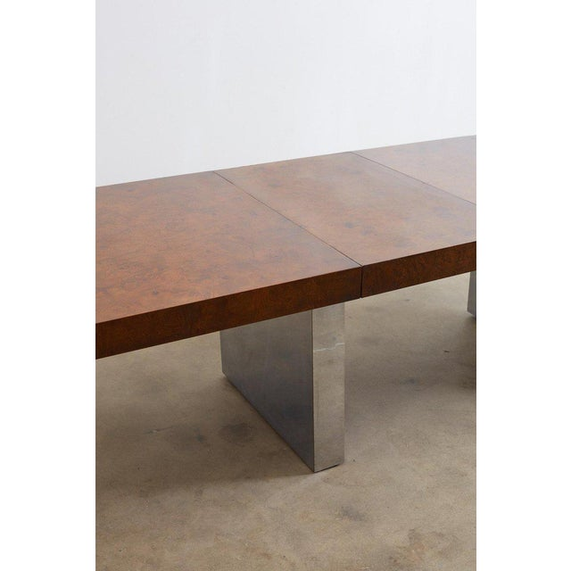 Mid-Century Modern Milo Baughman Burl Wood Chrome Extension Dining Table For Sale - Image 3 of 13