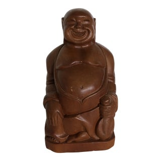 """Vintage Wood Carved Smiling """"Happiness Buddha"""" For Sale"""