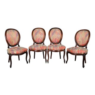 Set of 4 1950's Louis XVI French Medallion Rosewood Dining Chairs For Sale